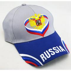 Головной убор Бейсболка Герб Росии, серый верх, синий козырек