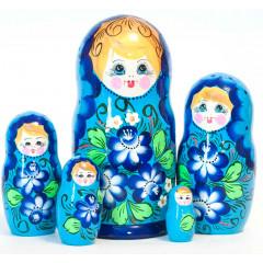 Матрешка 5 мест голубая, цветы в ассортименте 14