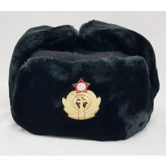Головной убор шапка меховая цигейка, мех черный