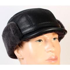 Головной убор шапка меховая зимняя кепка мужская, овчина, чёрный