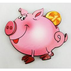 Магнит деревянный свинья копилка, символ 2019 года!