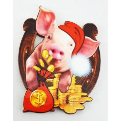 Магнит деревянный свинья с подковой, символ 2019 года!