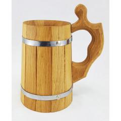 Кружка пивная деревянная, объем 0.8 л.