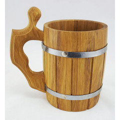 Кружка деревянная пивная кружка бочонок, объем 0.8 л.