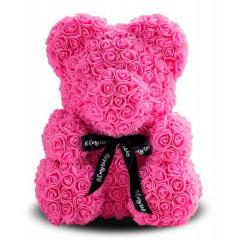 Подарок ко Дню святого Валентина 3D мишка из роз розовый