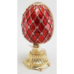 Копия Фаберже HJD0898+HJF1438C Яйцо пасхальное двойное сетка с корзиной, красное