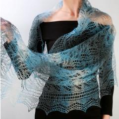 Платок Пуховый платок ручной работы палантин ажурный, (синий, белый, черный), 200 х 60