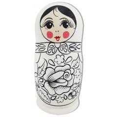 Матрешка Раскраска 1 место, семеновский стиль, 15 (с цветком шиповника, с руками и платочком)