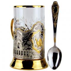 Подстаканник Глухарь чайный набор, позол. подстаканник и стакан с ложкой