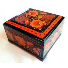 Хохлома сувенирная Шкатулка 9 х 9 х 6 см