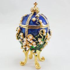 Копия Фаберже 2987-004 яйцо шкатулка, синее, 8