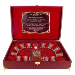 Подарок с гравировкой Подарки для мужчин Графины для водки со стопками 050203136, Набор Штоф Капитол и 12 стопок(двойная отводка) Кремль(латунь) Настоящий мужчина шкатулка