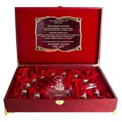 Подарок с гравировкой Подарки для мужчин Графины для водки со стопками 050203065, Набор штоф Рыбак 12 рюмок с рыбой  шкатул. бумвин. С накладкой Настоящий мужчина