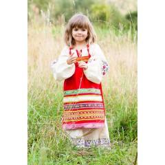Русский народный детский костюм ФАРТУКИ красный, 95 см