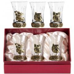 Подарок с гравировкой Подарки для мужчин Наборы стопок с накладками 050406009, Набор 3-х стопок для водки с Накладкой: Кабан, Медведь, Лось