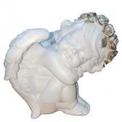 Подарок с гравировкой Садовые фигуры и кашпо Статуэтки Ангелы 793-1, Ангел спит Н-25, L-25