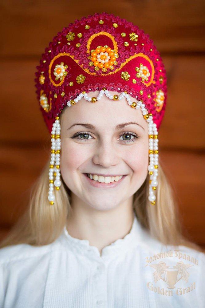Русский народный костюм КОКОШНИКИ Кокошник Алина АЛИ-00-10-00, с золотом. цвет Бордо