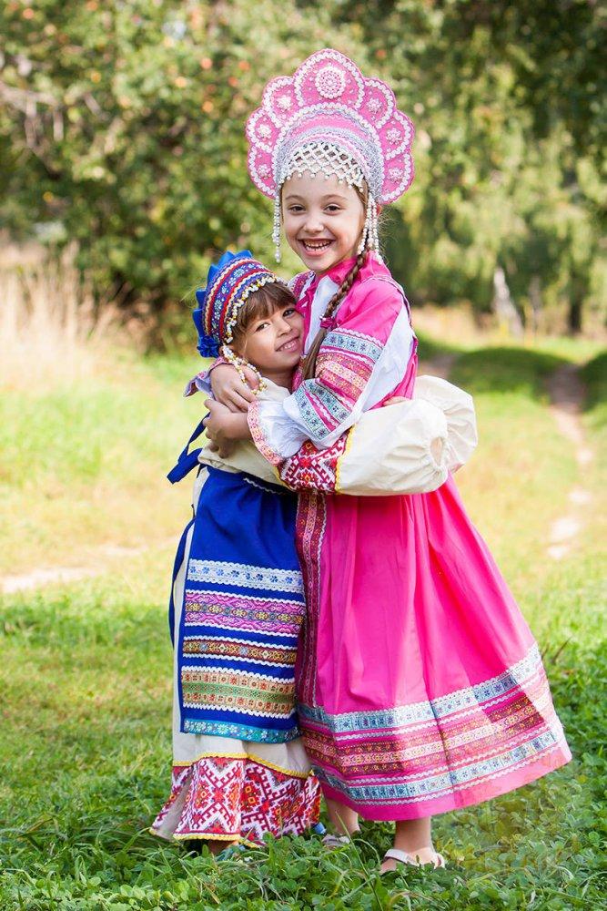 Русский народный детский костюм ФАРТУКИ синий , 95 см